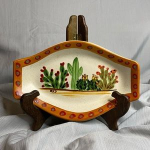 HF COORS Art pottery hand-painted cactus signed.